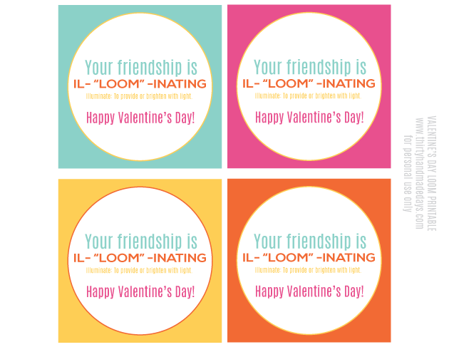 Your friendship is illuminating! Fun printable for Valentine's Day from www.thirtyhandmadedays.com