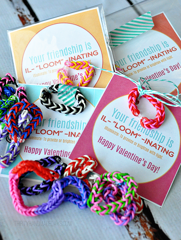 your friendship is illuminating fun valentines day idea using loom bracelets with free printable www - Valentines Day Bracelet