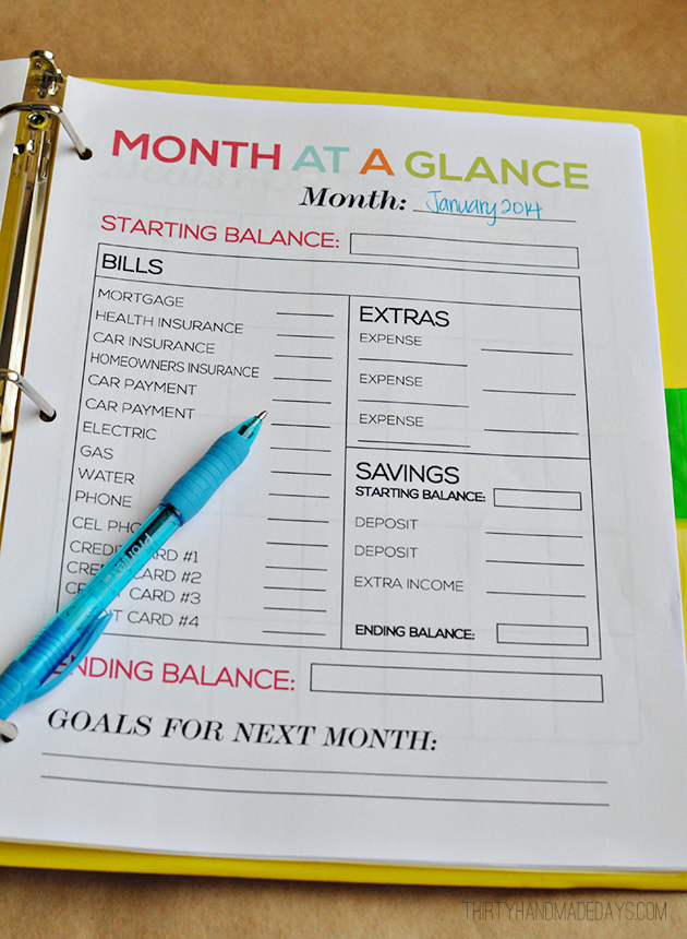 Month At A Glance  Part Of The Ultimate Budget Binder From  Www.thirtyhandmadedays.