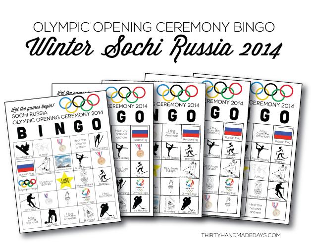 Winter Olympics Opening Ceremony BINGO- 5 printable sheets from www.thirtyhandmadedays.com
