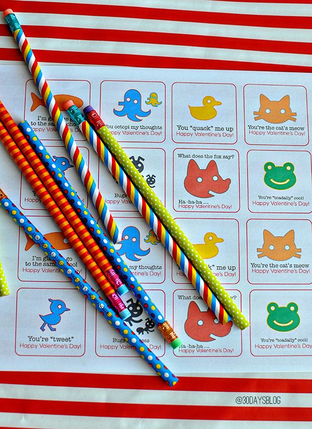 Printable Valentine's Day Pencil Toppers from www.thirtyhandmadedays.com