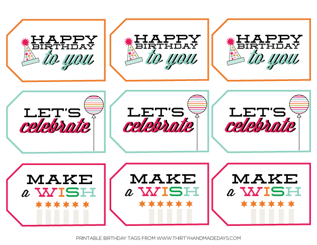 image relating to Thank You Printable Tag titled Birthday Printables - tag + thank your self notes