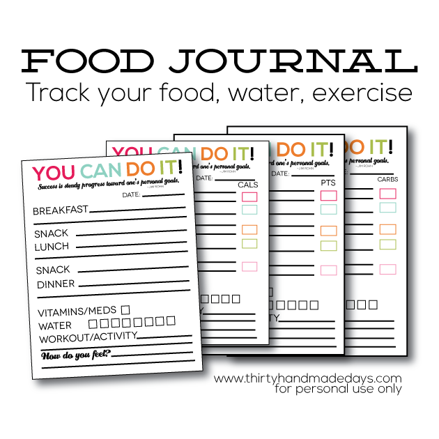 Updated Printable Food Journal – Food Journal Template Free