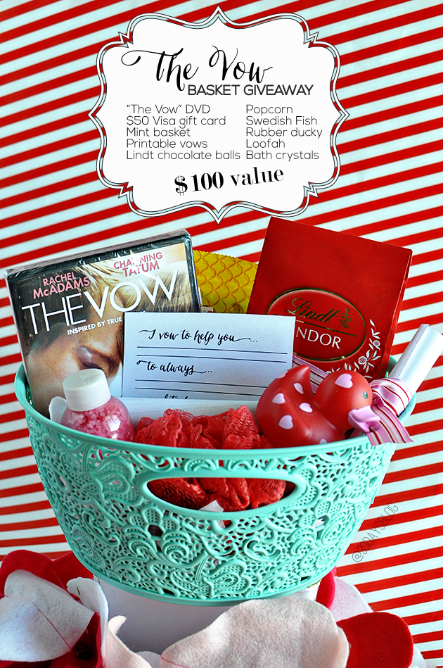 The Vow Basket Giveaway- a fun basket full of things for an awesome Valentine's Day date! www.thirtyhandmadedays.com