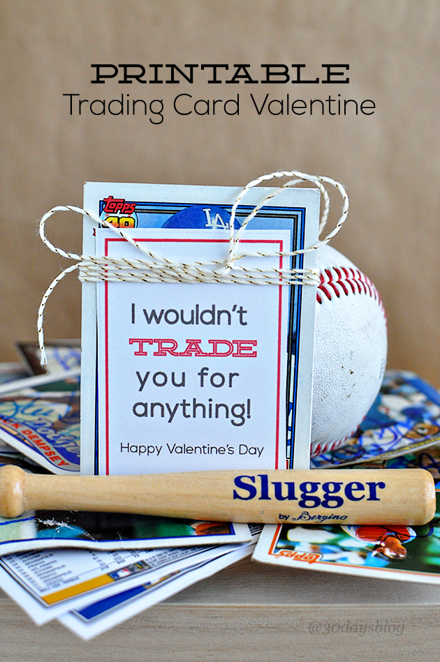 Fun trading card Valentine Day printable. Could be used for all types of cards. www.thirtyhandmadedays.com