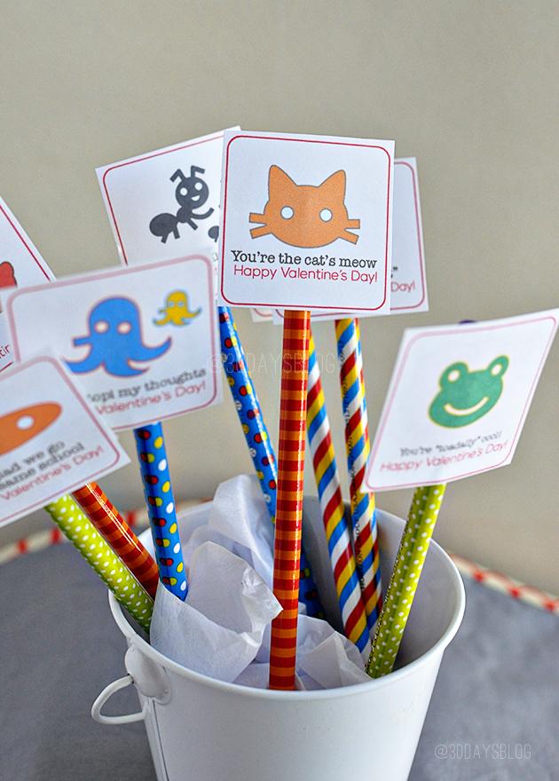 Valentine's Day Printable Pencil Toppers from www.thirtyhandmadedays.com