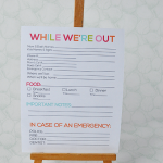 """While we're out"" printable babysitter notes from www.thirtyhandmadedays.com"