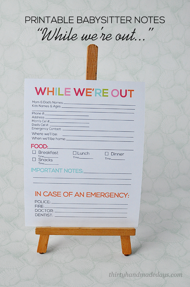 while were out printable babysitter notes from wwwthirtyhandmadedayscom