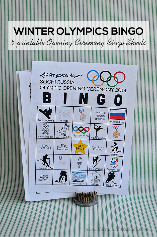 image relating to Winter Bingo Cards Free Printable named Printable Wintertime Olympics Opening Rite BINGO
