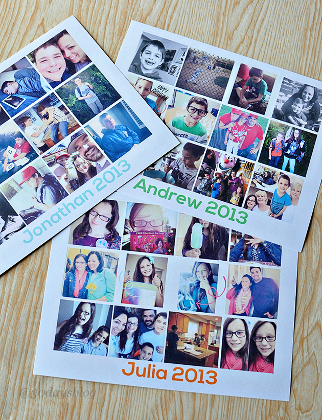 How to make a yearly collage using Instagram and a free template www.thirtyhandmadedays.com