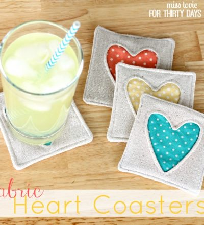 Simple Fabric Heart CoThe cutest Fabric Heart Coasters - tutorial and pattern included. Simple to make, perfect beginner sewing project. So cute!asters- absolutely adroable and simple to make! www.thirtyhandmadedays.com