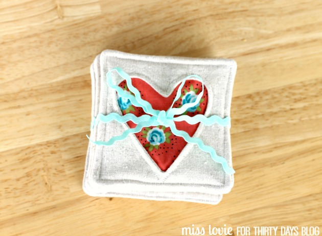 002 Fabric Heart Coasters
