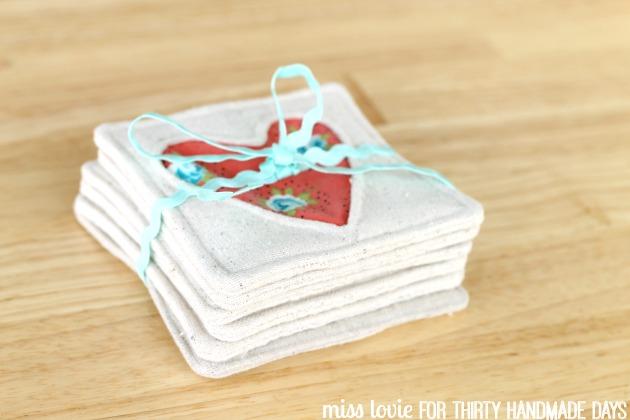 11 Heart Fabric Coasters Inverse Applique