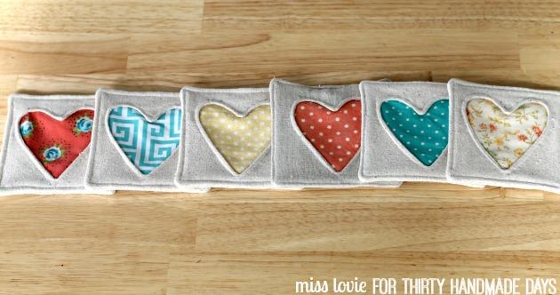 13 Fabric Heart Coasters Inverse Applique