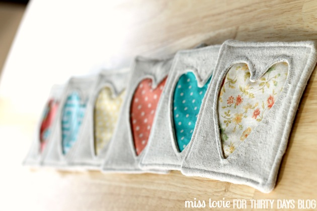 14 Fabric Heart Coasters Miss Lovie