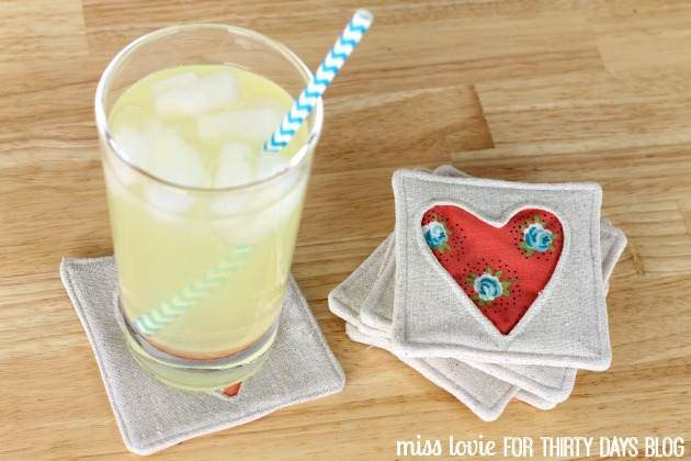 14 fabric heart coasters