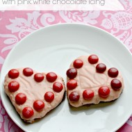 Valentine's Brownie Hearts with Pink White Chocolate Icing