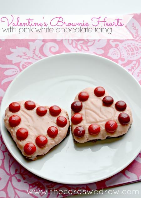 Valentine Brownie: Valentine's Brownie Hearts With Pink White Chocolate Icing
