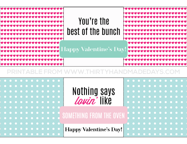 Printable Valentine's Day Bread Wrapper www.thirtyhandmadedays.com