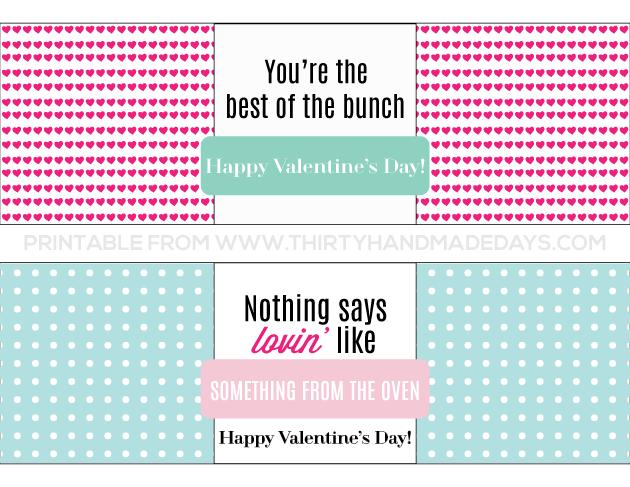 Printable Valentine's Day Bread Wrapper www.thirtyhandmadedays.com
