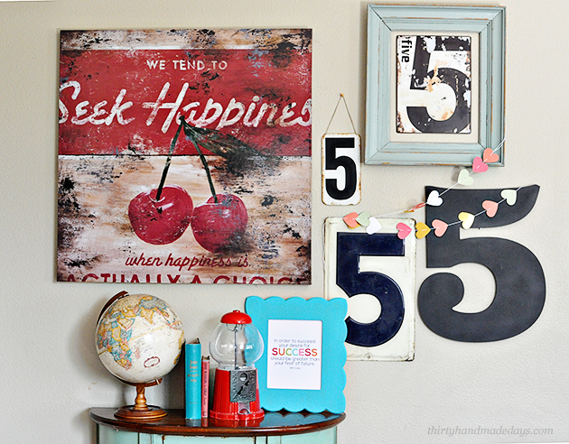 My favorite wall featuring 5's to represent the 5 of us and a fun frame with interchangeable quote frame from Cut It Out www.thirtyhandmadedays.com