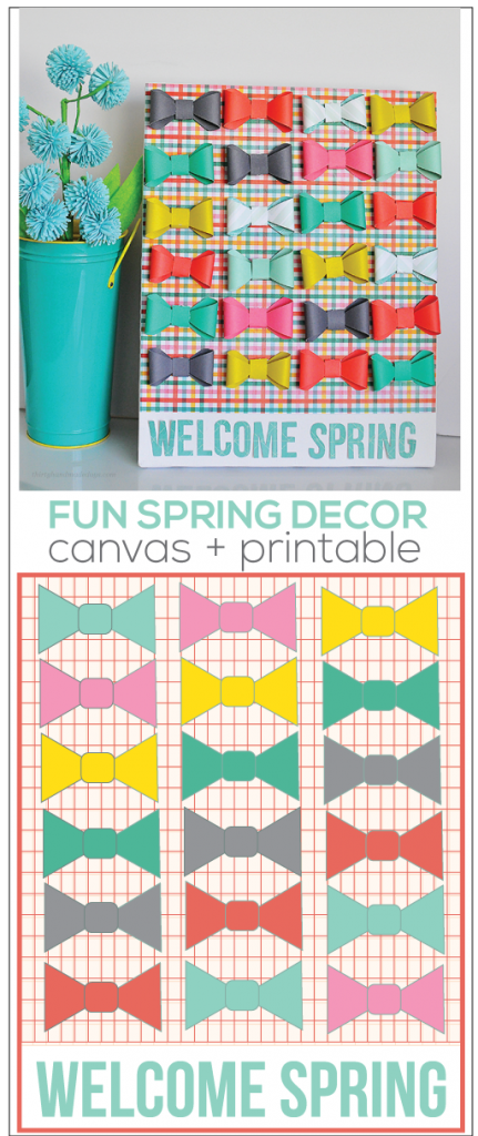 "Cute ""Welcome Spring"" Bow Canvas- made using the new Cricut Explore.  So easy & fun way to welcome spring! Plus coordinating printable www.thirtyhandmadedays.com"