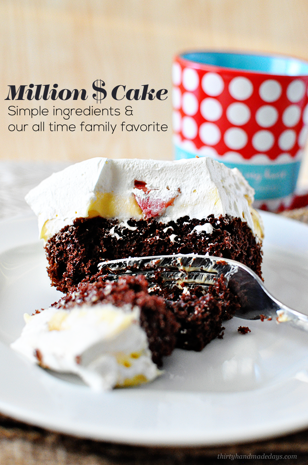 Our family favorite dessert- Million Dollar Cake- requested for every birthday! www.thirtyhandmadedays.com