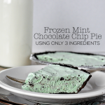 Simple Frozen Mint Chocolate Chip Pie- uses only 3 easy to find ingredients! Perfect for St. Patrick's Day or any time. www.thirtyhandmadedays.com