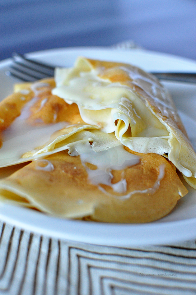 Russian Blini- aka Crepes that are so easy to make using ingredients you have on hand already from www.thirtyhandmadedays.com