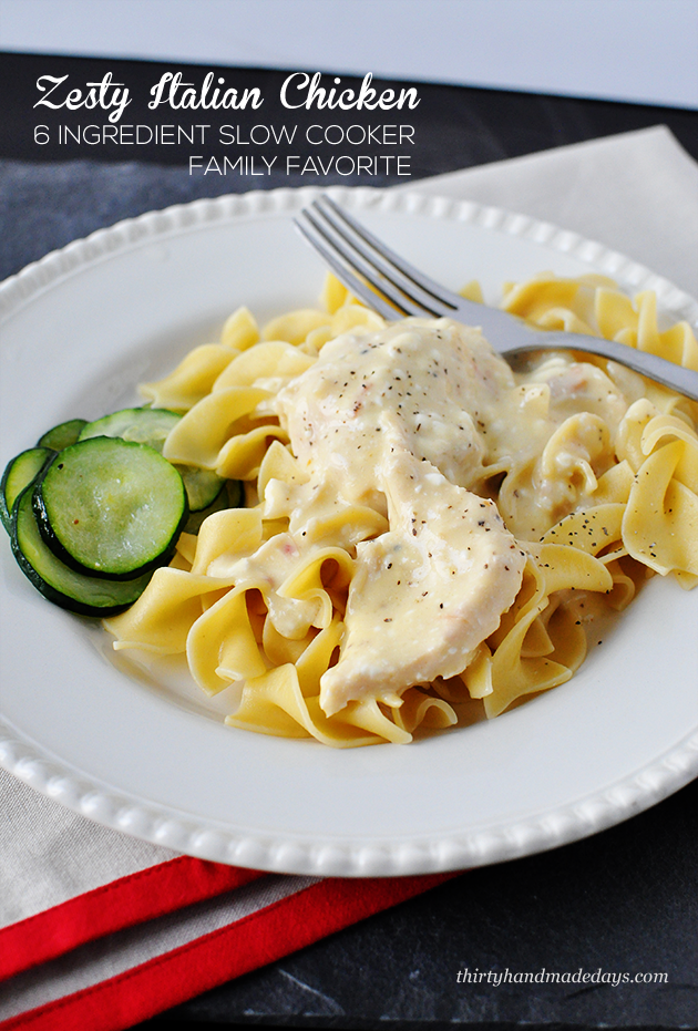 One of our all time favorite slow cooker meals: Zesty Italian Chicken. Only 6 ingredients and to simple to make! www.thirtyhandmadedays.com