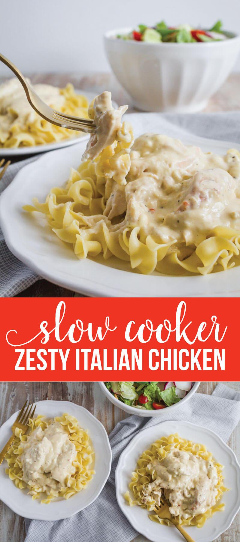 Slow Cooker Zesty Italian Chicken - one of our family favorites. www.thirtyhandmadedays.com