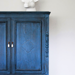 Deep Blue Milk Paint Cabinet from The Weathered Door featured at the Party Bunch via www.thirtyhandmadedays.com