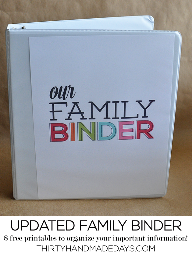 Updated Family Binder Printables- 8 amazing printables to help you create a binder for all of your most important information from www.thirtyhandmadedays.com