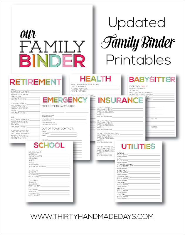 printable updated family binder. Black Bedroom Furniture Sets. Home Design Ideas