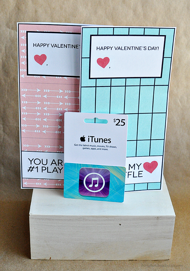 Valentine's day gift idea supplies for iTunes gift card template www.thirtyhandmadedays.com