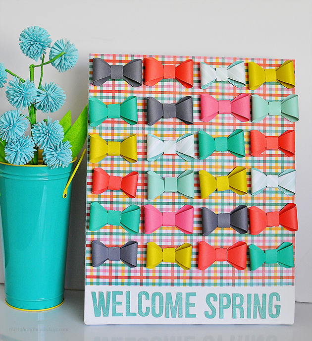 "Adorable ""Welcome Spring"" Bow Canvas- made using the new Cricut Explore.  So easy & fun way to welcome spring! www.thirtyhandmadedays.com"