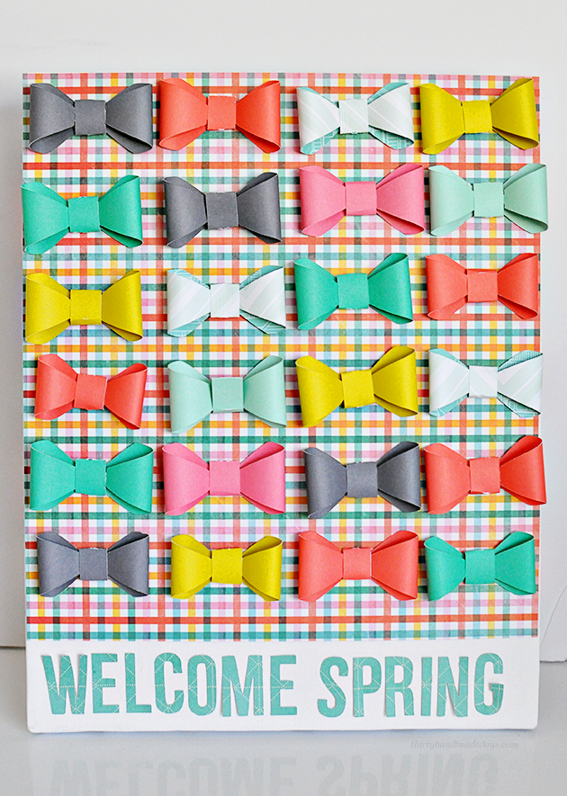 "Cute ""Welcome Spring"" Bow Canvas- made using the new Cricut Explore.  So easy & fun way to welcome spring! www.thirtyhandmadedays.com"