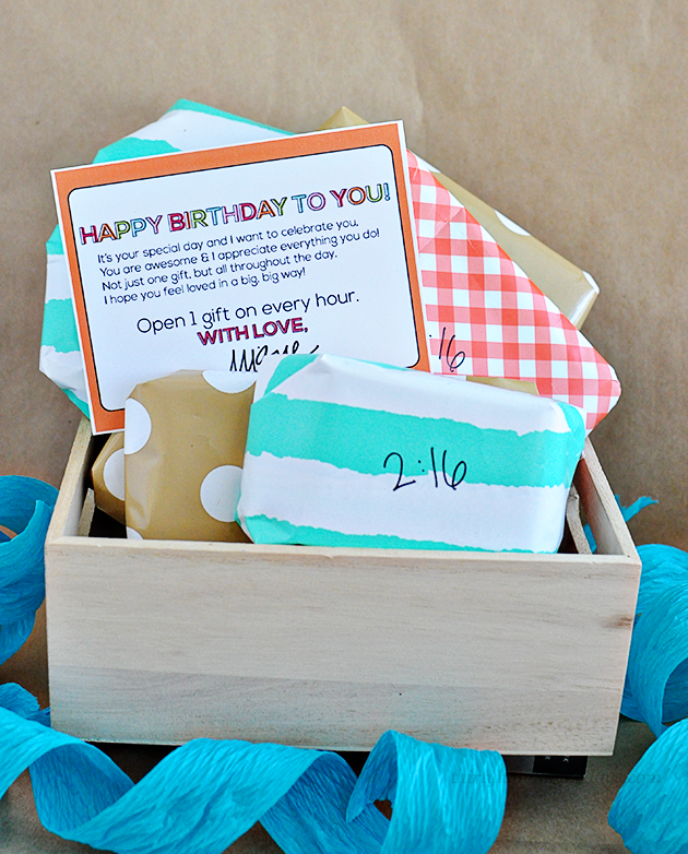 Spoil your loved ones with celebrating their birthday throughout the day.  Open a gift every hour & include cute printable | Thirty Handmade Days