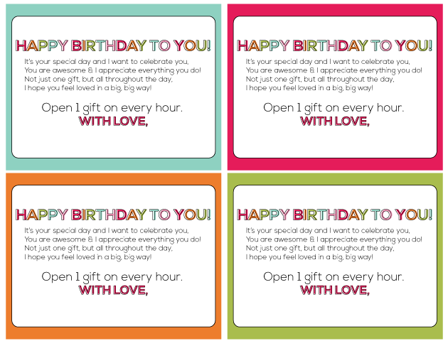 Birthday on the Hour Printables | Thirty Handmade Days