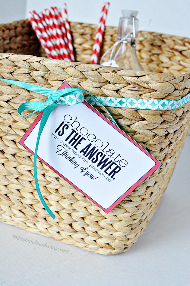 Fun gift basket idea + cute coordinating tags | Thirty Handmade Days