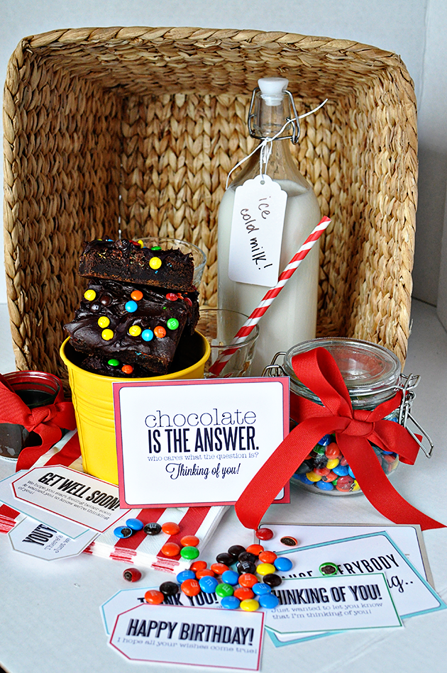 Fun gift basket idea + cute coordinating tags - the perfect thing for someone who is