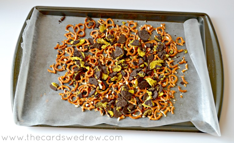 crush up cookies and pretzels