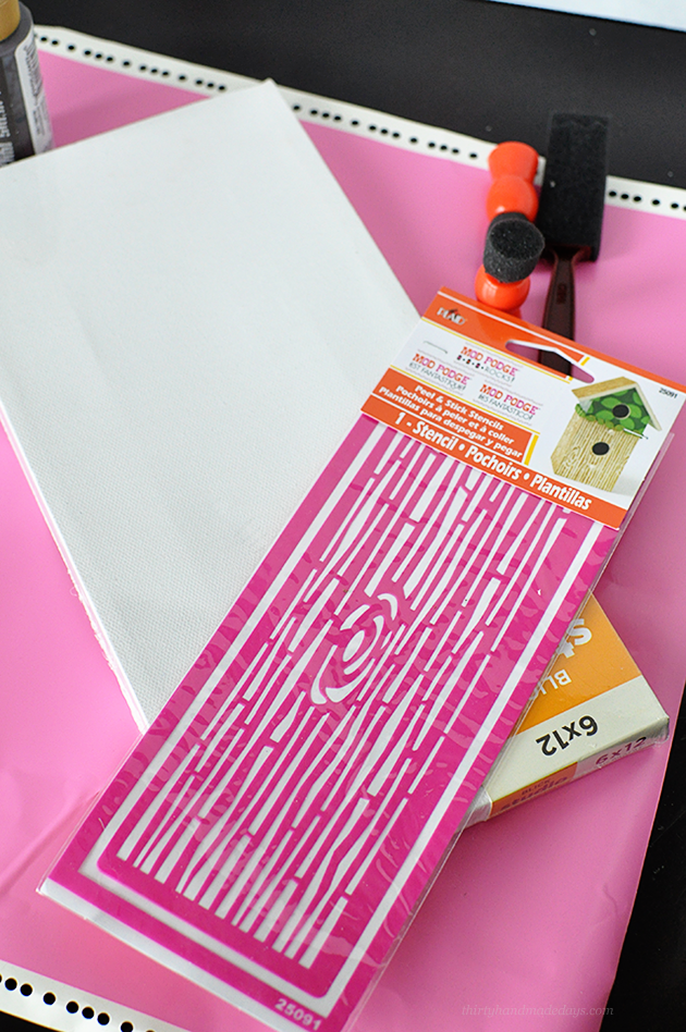 Some of the supplies used to create my DIY stenciled canvas | Thirty Handmade Days