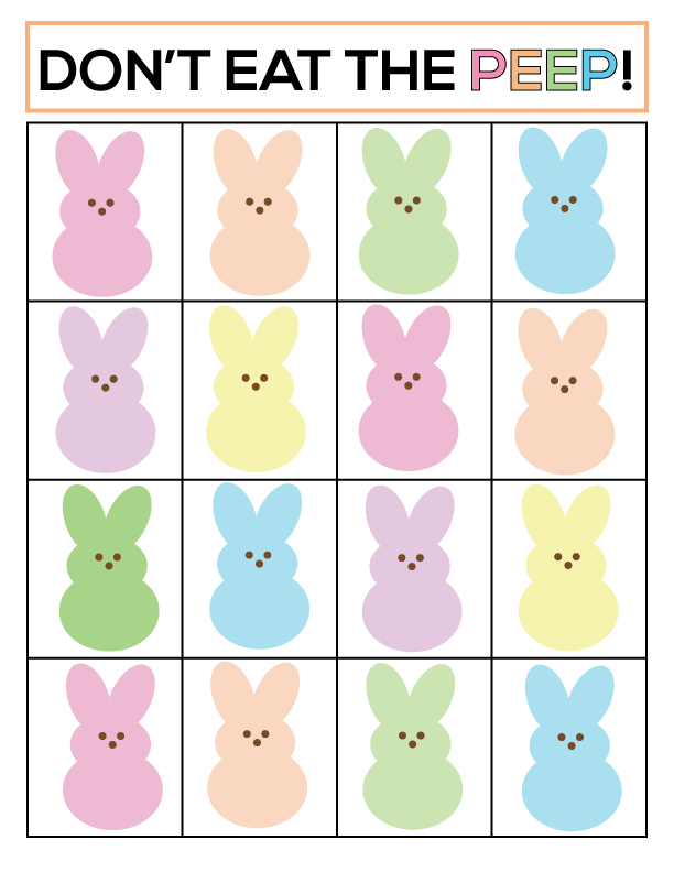 "Super fun ""Don't Eat the Peep"" Easter game. Print out and play with your family! 
