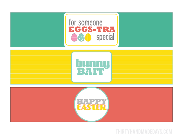 Bright and fun Easter treat printables for a bottle | Thirty Handmade Days