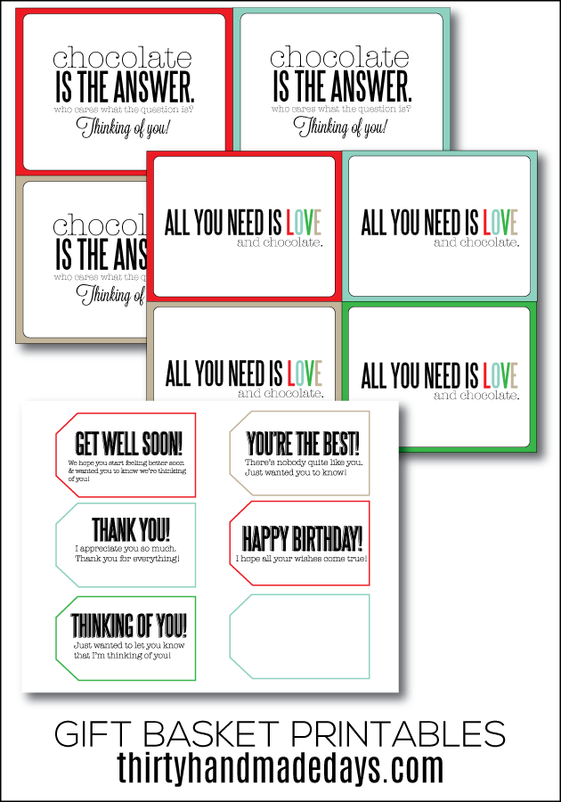 Fun printables for a universal gift basket idea | Thirty Handmade Days