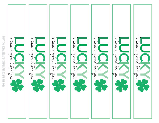 Lucky Friend St. Patrick's Day Printable bracelet