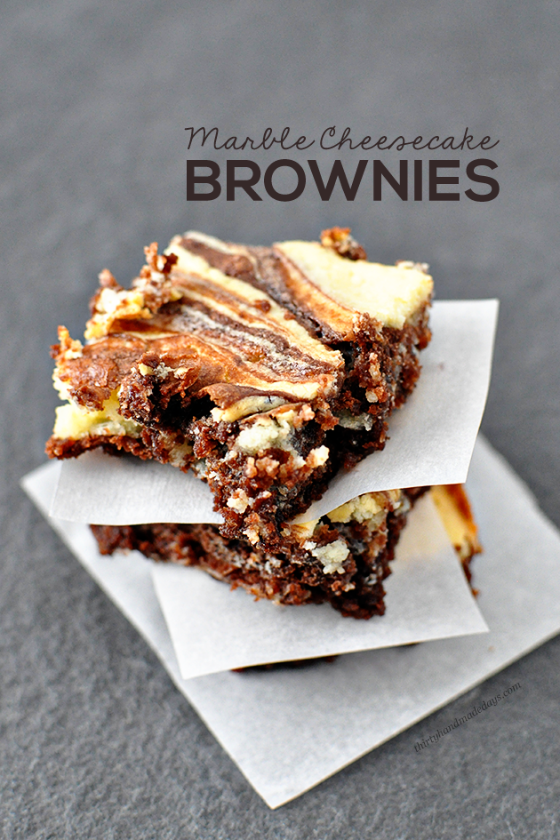 Make these amazing Marble Cheesecake Brownies and blow everyone away! | Thirty Handmade Days
