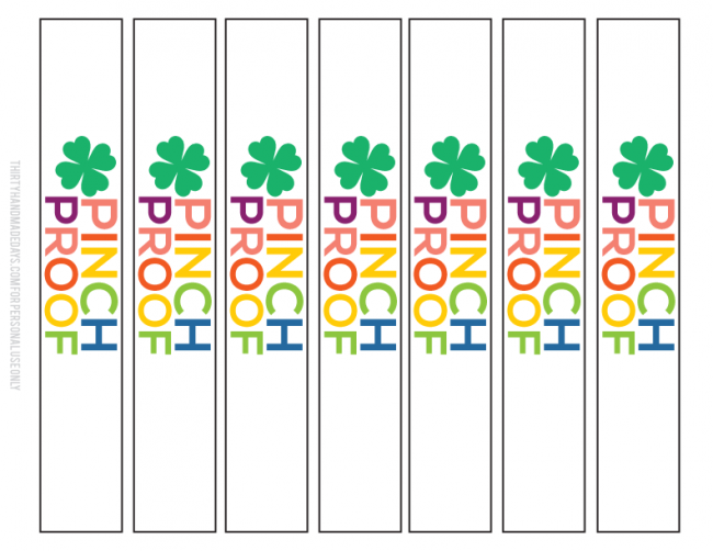 Pinch Proof St. Patrick's Day Printable bracelet