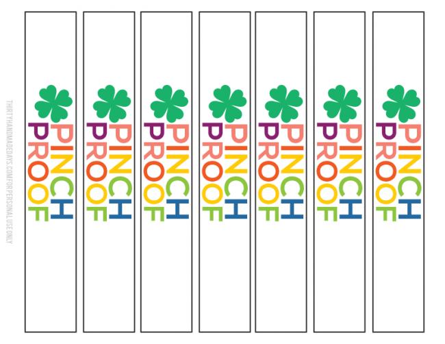 Pinch Proof St. Patrick's Day Printable bracelet